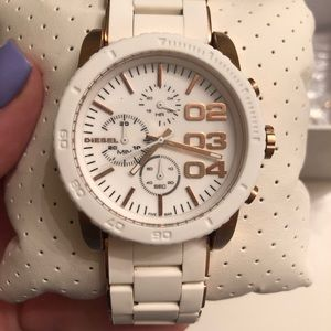 White and gold diesel chronograph silicone watch